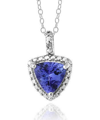 Tanzanite & Sterling Silver Framed Trilliant Pendant Necklace