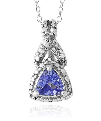 Tanzanite & Sterling Silver Framed Trillion Pendant Necklace