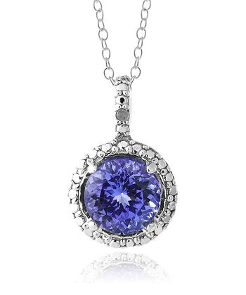 Tanzanite & Sterling Silver Round Pendant Necklace