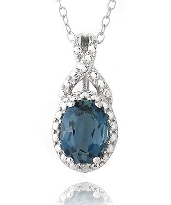 London Blue Topaz & Sterling Silver Round Pendant Necklace