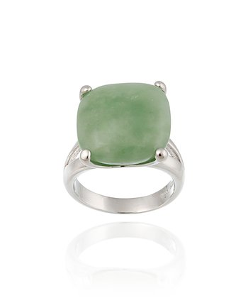 Green Jade & Sterling Silver Cushion-Cut Ring
