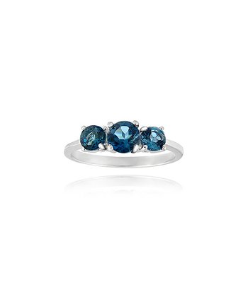 London Blue Topaz & Sterling Silver Triple Stone Ring