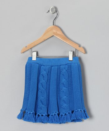 Bright Blue Cable-Knit Skirt - Toddler & Girls