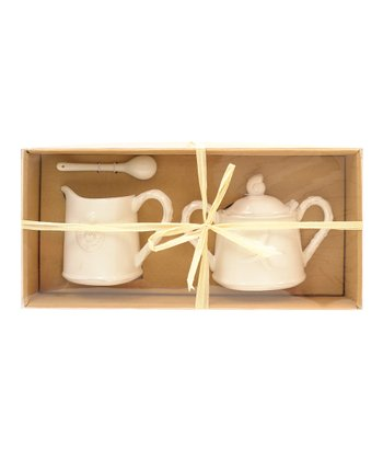 White Embossed Shell Creamer & Sugar Bowl