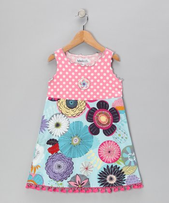 Blue & Pink Pom-Pom Dress - Toddler & Girls