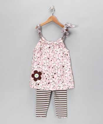 Pink Flower Swing Top & Capri Leggings - Girls