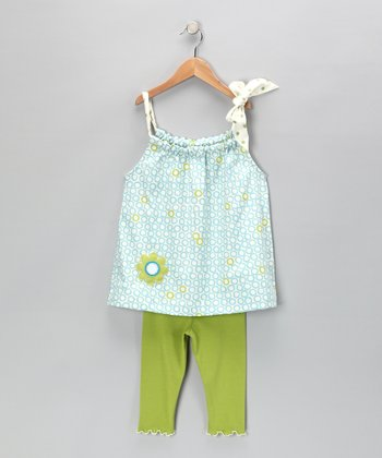 Blue Circle Swing Top & Capri Leggings - Girls
