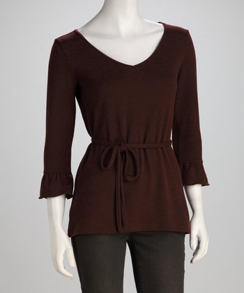Brown Jolie Tie-Waist Sweater