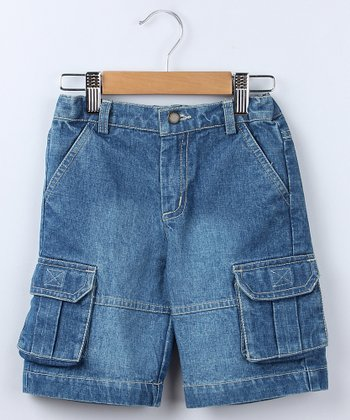 Blue Denim Pouch Pocket Bermuda Shorts - Boys