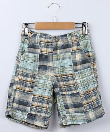 Blue Patchwork Plaid Bermuda Shorts - Boys