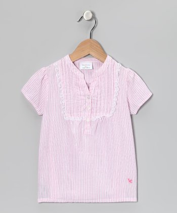 Pink Stripe Henley - Infant & Girls