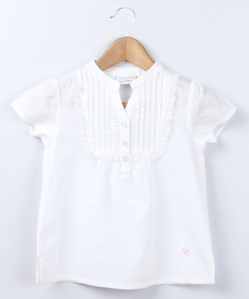 White Pin Tuck Swiss Lace Top - Infant & Toddler