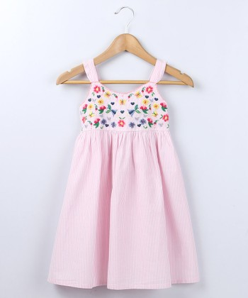 Pink Stripe Flower Frill Dress - Girls