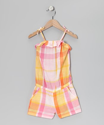 Yellow & Pink Plaid Romper - Girls