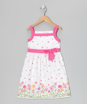 White Flower Bow Dress - Girls