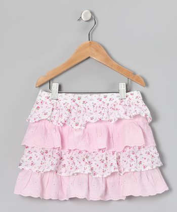 Pink Floral Ruffle Skirt - Girls