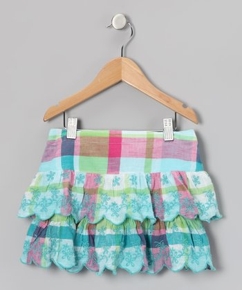 Turquoise Plaid Flower Ruffle Skirt - Girls