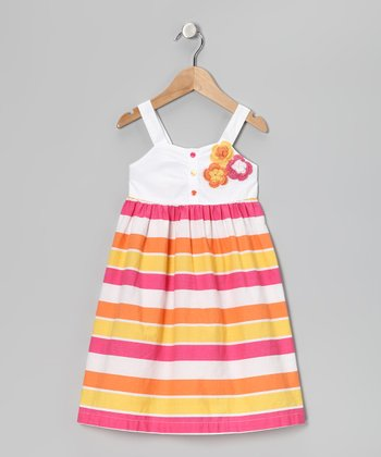 Pink & Yellow Stripe Flower Dress - Girls
