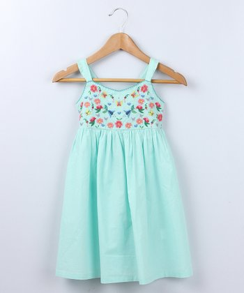 Light Green Flower Frill Dress - Girls