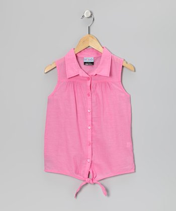 Pink Button-Up Top - Girls