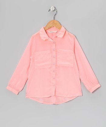 Peach Sheer Button-Up - Girls