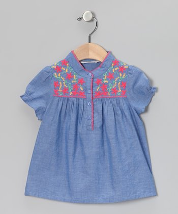 Blue Swirl Flower Top - Girls