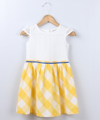 Yellow Plaid Schiffli Dress - Girls