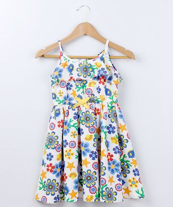 White & Yellow Marine Flower Dress - Girls