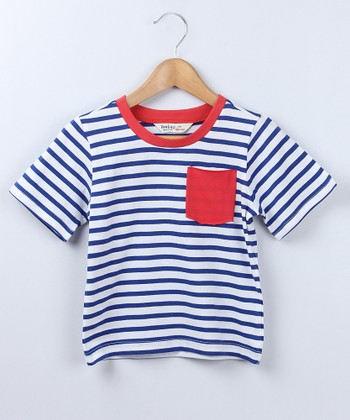Blue Stripe Pocket Tee - Boys