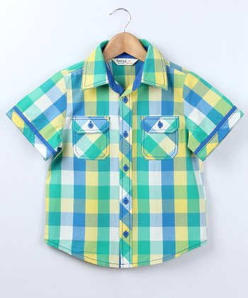 Tropical Green Plaid Button-Up - Boys