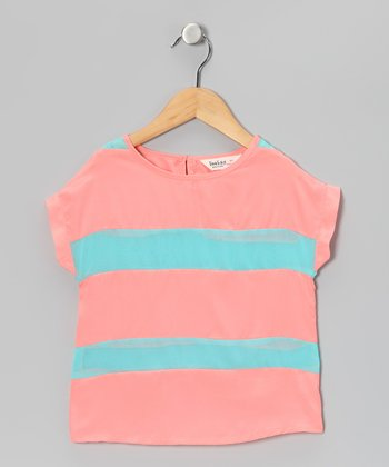 Peach & Turquoise Stripe Top - Girls