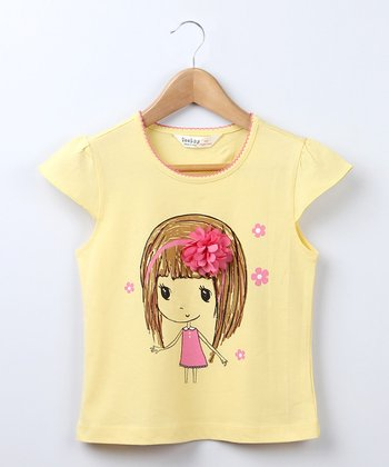 Yellow Flower Girl Tee - Girls