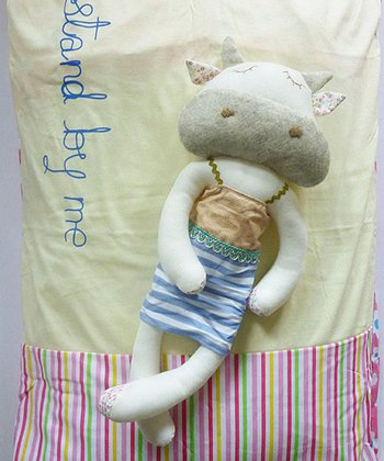 Sleeping Cow Plush Toy & 'Stand By Me' Pillowcase