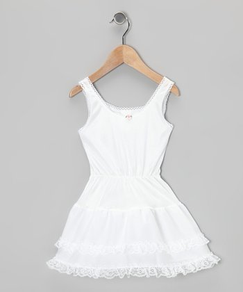 White Rosette & Lace Slip - Toddler & Girls