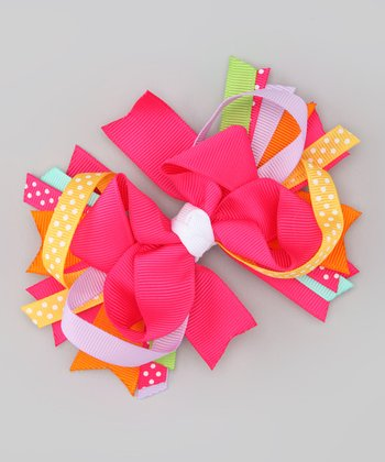 Kinley Kouture Hot Pink Rainbow Bow