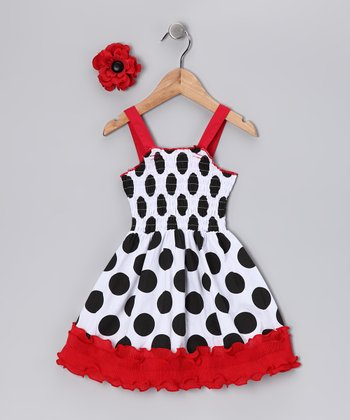 White Polka Dot Flower Dress - Infant & Toddler