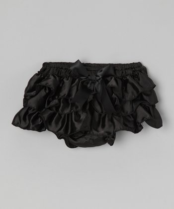 Black Bow & Ruffle Satin Diaper Cover - Infant