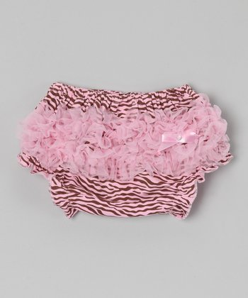 Pink & Brown Zebra Ruffle Diaper Cover - Infant