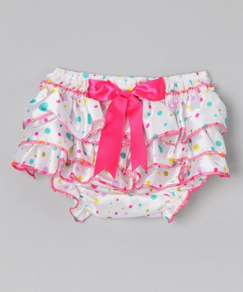 White & Pink Bow & Ruffle Satin Diaper Cover - Infant