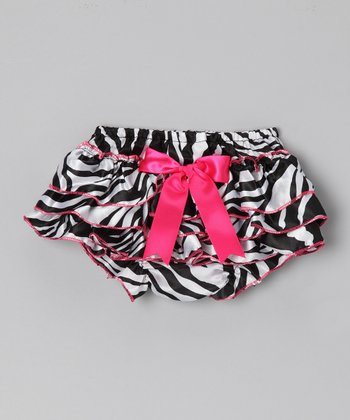 Hot Pink Zebra Bow & Ruffle Satin Diaper Cover - Infant