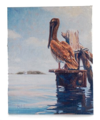 Perched Pelican Canvas Wall Art