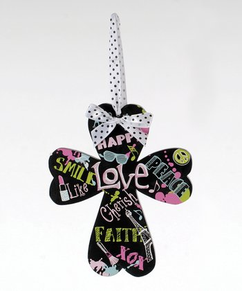 Black Colorful Word Hanging Cross