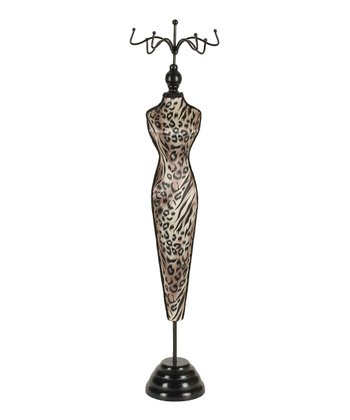 Slender Animal Print Wood Dress Form Jewelry Holder