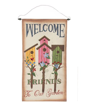 'Welcome Friends' Birdhouse Wall Art
