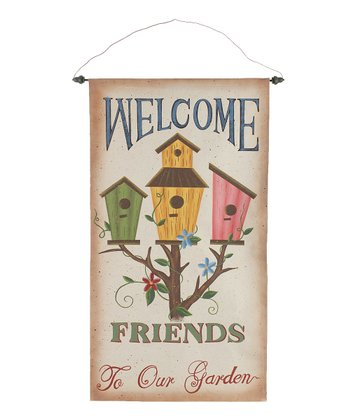'Welcome Friends' Birdhouse & Tree Wall Art