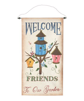 Blue Birdhouse 'Welcome Friends' Wall Art