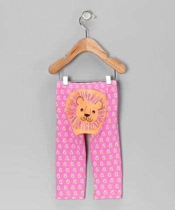 Pink & Melon Daisy Lioness Pants - Infant