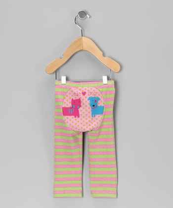 Pink & Green Stripe Cat & Dog Love Pants - Infant & Toddler
