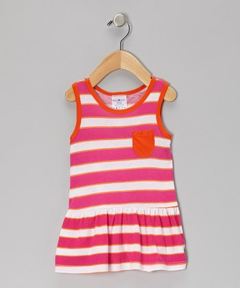 Pink & Orange Ruffle Pocket Dress - Infant, Toddler & Girls