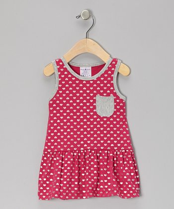 Pink Heart Dot Ruffle Pocket Dress - Infant